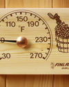 030K: Pine thermometer with bucket and birch leaf design
