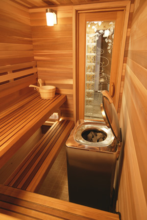 FPC CUSTOM SAUNA ROOM OF WESTERN RED CEDAR WITH OPTIONAL BACKREST EVER READY HEATER AND RUSTIC POSITIVE ETCHED GLASS